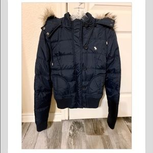 Navy Abercrombie & Fitch Puffer Coat